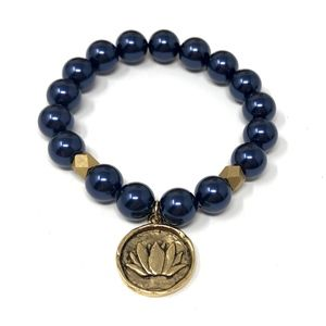 UtterlyAccessorized Jewelry - Navy Blue Swarovski Pearl Lotus Charm Bracelet